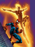 Ultimate Spider-Man No.68 Cover: Spider-Man and Human Torch Plastic Sign by Mark Bagley