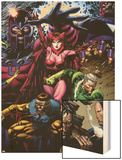 X-Men: Legacy No.209 Cover: Toad, Quicksilver, Scarlet Witch and Magneto Wood Print by David Finch