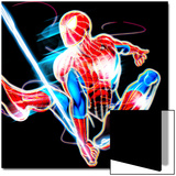 Spider-Man Neon Badge: Spider-Man Swinging Art