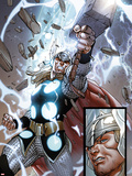The Mighty Thor No.10: Panels with Thor and Mjolnir Plastic Sign by Pepe Larraz
