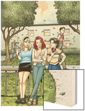 Spider-Man Loves Mary Jane Season 2 No.4 Cover: Mary Jane Watson, Stacy, Gwen, and Liz Allen Wood Print by Terry Moore