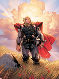 Thor No.10 Cover: Thor Jumping Plastic Sign by Olivier Coipel