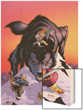 Warriors Three No.4 Cover: Volstaag, Hogun and Fandral Fighting a Wolf in the Snow Wood Print by Amanda Conner
