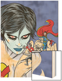 X-Statix Presents: Dead Girl No.2 Cover: Dr. Strange, Dead Girl and Phantom Rider Fighting Wood Print by Nick Dragotta