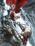 The Mighty Thor No.12 Cover: Thor and Tanarus Fighting Plastic Sign by Gabriele DellOtto
