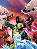 Uncanny X-Men No.533 Cover: Wolverine, Psylocke, and Angel Fighting and Flying Plastic Sign by Greg Land