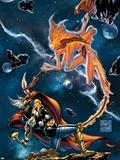 Stormbreaker: The Saga Of Beta Ray Bill No.3 Cover: Stardust and Beta-Ray Bill Flying Signe en plastique rigide par Andrea Di Vito