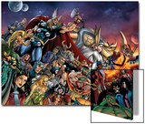 Thor No.85 Group: Thor, Hulk, Loki, Thanos, Beta-Ray Bill and Odin Fighting Poster by Andrea Di Vito