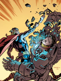 Thor The Mighty Avenger No.8 Cover: Thor and Iron Man Fighting Plastic Sign by Chris Samnee