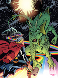 Thor The Mighty Avenger No.6 Cover: Thor and Fin Fang Foom Standing Wall Decal by Chris Samnee