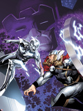 The Mighty Thor No.4 Cover: Silver Surfer and Thor Fighting Wall Decal by Olivier Coipel