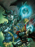 Thor: The Deviants Saga No.2 Cover: Thor and Ereshkigal Fighting Wall Decal by Stephen Segovia