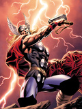 Thor: Wolves of The North No.1 Cover: Thor Standing with Mjonir in Lightning Plastic Sign by Mike Perkins