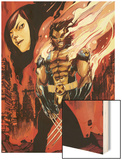Wolverine and Jubilee No.3 Cover: Wolverine Flaming Wood Print by Nimit Malavia