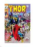 Jack Kirby - Thor No.179 Cover: Thor, Balder and Sif Plastové cedule