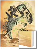 X-Club No.3: Dr. Nemesis Riding a Shark Wood Print by Paul Davidson