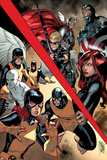 All-New X-Men 8 Cover: Hawkeye, Thor, Captain America, Black Widow, Angel, Cyclops, Iceman, Beast Plastic Sign by Stuart Immonen