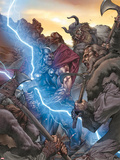 Thor: The Rage of Thor No.1 Cover: Thor Fighting and Screaming, and Lightning Plastic Sign by Mico Suayan