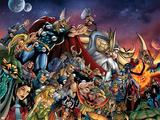 Thor No.85 Group: Thor, Hulk, Loki, Thanos, Beta-Ray Bill and Odin Fighting Signe en plastique rigide par Andrea Di Vito