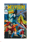 Wolverine No.4 Cover: Wolverine, Roughouse, Bloodsport and Karma Wall Decal by John Buscema