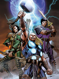 Ultimate Thor No.3 Cover: Thor, Loki, and Balder Plastic Sign by Carlos Pacheco