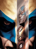 Wolverine No.40 Cover: Wolverine, Captain America, Iron Man and Spider-Man Plastic Sign by Javier Saltares