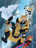 Wolverine And Power Pack No.4 Cover: Wolverine, Lightspeed, Energizer, Mass Master and Zero-G Plastic Sign by  Gurihiru