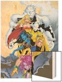 ExilesNo.44 Cover: Sasquatch, Magik, Morph, Nocturne, Mimic, Blink and Exiles Wood Print by Mizuki Sakakibara