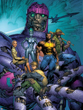 New X-Men No.514 Cover: Sentinel, Wolverine, Beak, Nova, Cassandra and E.V.A. Plastic Sign by Marc Silvestri