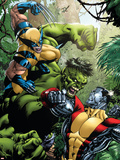 X-Men Vs Hulk No.1 Cover: Wolverine, Colossus and Hulk Plastic Sign by David Yardin