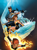 Ultimate X-Men No.57 Cover: Grey, Jean, Iceman, Cyclops and Shadowcat Fighting Plastic Sign