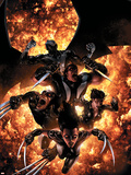 X-Force No.12 Cover: X-23, Wolverine, Domino, Warpath and Archangel Plastic Sign by Clayton Crain
