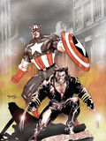 Wolverine Captain America No.1 Cover: Wolverine and Captain America Plastic Sign by Tom Derenick