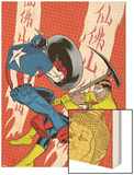 X-Statix No.22 Cover: Captain America and The Anarchist Fighting and Shooting Wood Print by Michael Allred
