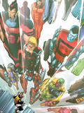 Exiles No.64 Cover: Beak, Colossus, Vision, Magnus and Thunderbird Charging Wall Decal by Mizuki Sakakibara