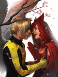 X-Men: First Class No.7 Cover: Angel and Scarlet Witch Plastic Sign