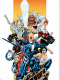 The Official Handbook Of The Marvel Universe Teams 2005 Group: Captain Britain Wall Decal by Pablo Raimondi