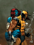 Wolverine No.62 Cover: Wolverine and Mystique Plastic Sign by Ron Garney