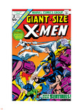 Dave Cockrum - Giant-Size X-Men No.2 Cover: Sentinel, Cyclops, Iceman, Angel and Beast Plastové cedule