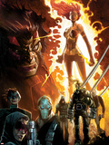 Age of Apocalypse No.1 Cover: Phoenix Standing and Flaming, with Wolverine and Others Plastic Sign by Humberto Ramos