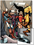 Dark X-Men No.3 Group: Iron Patriot, Wolverine, Ms. Marvel, Hawkeye, Ares and Sentry Fighting Art by Kirk Leonard