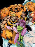 Exiles No.60 Cover: Sabretooth, Blink, Sasquatch and Beak Plastic Sign by James Calafiore