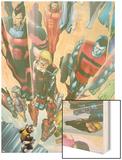 Exiles No.64 Cover: Beak, Colossus, Vision, Magnus and Thunderbird Charging Wood Print by Mizuki Sakakibara