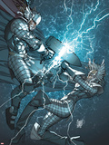 X-Men: To Serve and Protect No.3 Cover: Storm and Thor Fighting Plastic Sign by Giuseppe Camuncoli