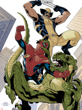 X-Men No.10 Cover: Wolverine and Spider-Man Fighting while Falling Plastic Sign by Terry Dodson