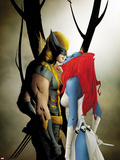 Wolverine No.9 Cover: Wolverine and Mystique Kissing Plastic Sign by Jae Lee