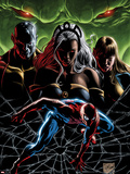 X-Men No.28 Cover: Spider-Man Crouching in a Web in front of Skrulls Wall Decal by Will Conrad