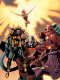 Ultimate X-Men No.93 Cover: Wolverine, Phoenix, Apocalypse and Onslaught Signe en plastique rigide par Salvador Larroca