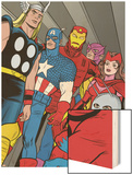 X-Statix No.21 Group: Ant-Man, Captain America, Thor, Iron Man, Scarlet Witch, Hawkeye and Avengers Wood Print by Michael Allred