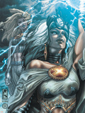 Astonishing X-Men No.29 Cover: Storm and Emma Frost Plastic Sign by Simone Bianchi